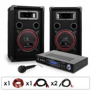 Auna DJ-10 - DJ PA Amplificador, Colunas, Microfone 1000W