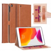WY-2099 Leather Stand Card Slots Tablet Case with Elastic Band and Hand Strap for iPad 10.2 (2019) - Brown