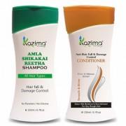 KAZIMA Amla Shikakai Reetha Shampoo (200ml) + Anti Hair fall & Damage Control Conditioner (200ml) with Milk Protein Multivitamins For Hair fall Control and Damage Repair Fast Hair Growth Healthy Scalp Removes Dandruff & Lice
