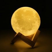3D Printed Moon 4 Color Changing with Wooden Stand Realistic Table Lamp