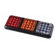 Lampa stop auto dreptunghiulara LED cu 3 cadrane Pozitie/Frana-Semnalizator-Marsarier 12/24V