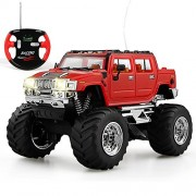 haomsj Hummer RC Radio Remote Control Car Off-Road Rock Vehicle 1:43 High Speed Alloy Racing Cars RED (27MHz)