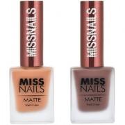 Miss Nails Coffee Shots Choco Loco Matte Series nail Polish combo pack 10 ml each