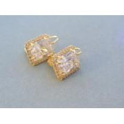 Zlaté náušnice elegantné žlté zlato zirkón DA660Z