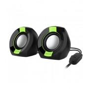 Astrum SU105 fekete-zöld 2.0 csatornás 3,5MM multimédia hangszóró USB-s áramellátással, hangerőszabályozóval, prémium hangzással 2 X 3W