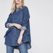 River Island Blauwe denim rok met ruches