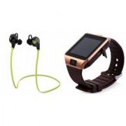 Zemini DZ09 Smartwatch and Jogger Bluetooth Headphone for SAMSUNG GALAXY A3 DUOS(DZ09 Smart Watch With 4G Sim Card Memory Card| Jogger Bluetooth Headphone)