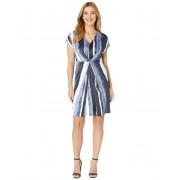 Kenneth Cole Origami Pleat Dress Painter Stripe Indigo