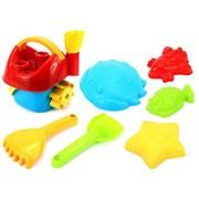 Sand Wheel Bucket Childrens Kids Toy Beach/Sandbox Playset W/ Bucket, Sand/Water Wheel, Sand Molds, Hand Tools (Colors May Vary)