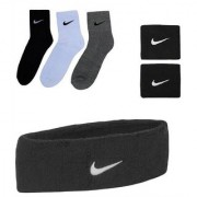 Combo Of Sports Socks Pack Of 3 Pairs And Black Sports Head Band And Wrist Band. CODE qG-5367