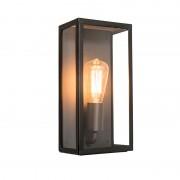 QAZQA Moderne rechthoekige buitenwandlamp zwart met glas - Rotterdam 1