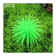 3 PCS Acuario Articulos Decoracion TPR Simulación Erizo Bola Coral Con Punto, Tamaño: S, Diámetro: 7 Cm (verde)