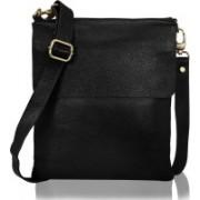 HugMe.fashion Men & Women Black Genuine Leather Messenger Bag