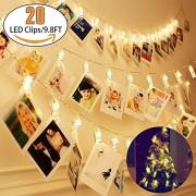 Dynamis Bargains Tira de luces LED operadas con batería, 20 clips para colgar fotos, tarjetas e ilustraciones; centelleo de hadas para fiestas de boda, Navidad, decoración del hogar; 12 luces LED, 3m, luz en tono blanco cálido, focos transparentes