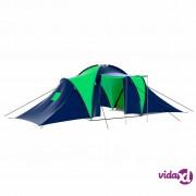 vidaXL Poliesterski šator za kampiranje za 9 osoba plavo-zeleni