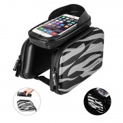 WEST BIKING Reflective Zebra Stripes Bike Bicycle Bag Cycling Waterproof Screen Touch Top Tube Phone Bag