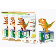 Funvention Pack of 3) Paper T-Rex Automaton 3D Model with 4 Set of Animated Jaw Movements - DIY Science Educational Toy - STEM Learning Kit - Learn with Fun Do It Yourself Innovative Toy Kit for Kids - Birthday Return Gift