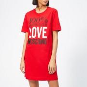 Love Moschino Women's Logo Slogan T-Shirt Dress - Red - IT 40/UK 8 - Red
