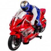 Motocicleta rosie cu motociclist lumini sunete