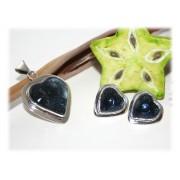 Pendentif Coeur Verre Bleu et Boucles D'oreilles