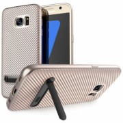Samsung Galaxy S7 Ultra Thin Slim Carbon TPU Case With Stand - Rose Gold