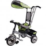 Tricicleta Lux 4 in 1 cu control parental, copertina reglabila, cos de cumparaturi - Sun Baby - Verde