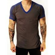 Whittall & Shon Athletic Shoulder Stripes V Neck Short Sleeved T Shirt Gunmetal/Royal 168