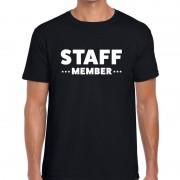 Bellatio Decorations Staff member / personeel tekst t-shirt zwart heren