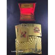Gold Foil Coated PLAYING CARDS FULL POKER DECK Gift Wood Box Burj Khalifa Dubai Design+ free Lucky Donk sticker
