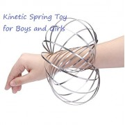 Batai Kinetic Spring Toy,Flow Ring,Multi Sensory Interactive 3D Shaped Flow Ring,for Boys and Girls,Stainless Steel Springs,Silver
