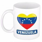 Bellatio Decorations Venezolaanse vlag hartje theebeker 300 ml
