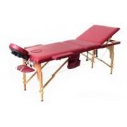 Stół, łóżko do masażu 3 segmentowe drewniane - bordowe
