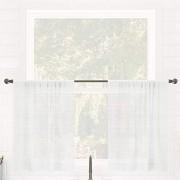 Clean Window Cortina de café con Textura de Rayas Antipolvo y antialérgica/amigable con Mascotas, 132 x 91 cm, Color Blanco