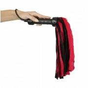 ZADO - prémes valódi bőr korbács (piros-fekete)
