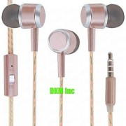 DKM Inc Limited Edition Universal Rose Gold Nylon Perfume Wire In Ear Earphones with Mic for Intex Phones