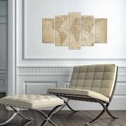 Tablou decorativ multicanvas Charm, 5 Piese, Harta Lumii, 223CHR3947, Bej