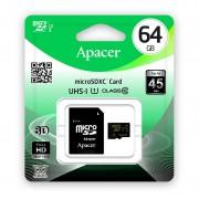 Card APACER microSDXC 64GB Clasa 10 UHS-I U1 cu adaptor SD
