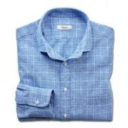 Ingram zakelijk overhemd in linnenmix, 46 cm - blauw/wit