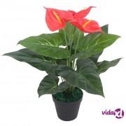 vidaXL Umjetna biljka Anturijum s posudom 45 cm crveno-žuta