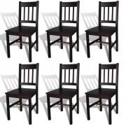 vidaXL Set 6 scaune bucătărie din lemn Maro