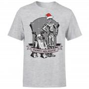 Star Wars Christmas Happy Holidays Droids Grey T-Shirt - XXL - Grey