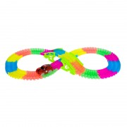 Circuit auto LED Glow In The Dark, 129 piese, lungime 155 cm