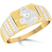 VK Jewels Saibaba Gold and Rhodium Plated Alloy Ring for Men - FR2297G VKFR2297G18