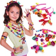 Bead Kit - Pop Beads Snap-Together Fashion Kit Fun for Kid Necklace and Bracelet Craft 128 Pieces/Set Jewellery Making Kit Beads Art - Toy Gifts, Gift, Birthday Gift By Shuban