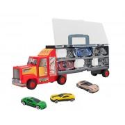 Camion rosu care transporta 6 masinute metalice, Globo Spidko, multicolor