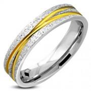 Arany és ezüst színű, homokfújt nemesacél gyűrű ékszer-5