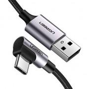 Cablu Date si Incarcare Ugreen 90° USB Type C, 3A Fast Charge, 1m, Negru + Gri