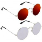 shah collections Round Sunglasses(Silver, Red)