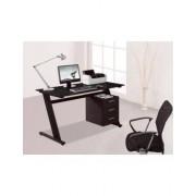 Mesa de Computador com Tampo de Vidro e 3 Gavetas Preto