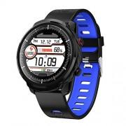 Yeechang Reloj inteligente con Bluetooth, resistente al agua, reloj inteligente con monitor de frecuencia cardíaca, pulsera inteligente S10, monitor de frecuencia cardíaca, previsión meteorológica, múltiples modos deportivos, Azul